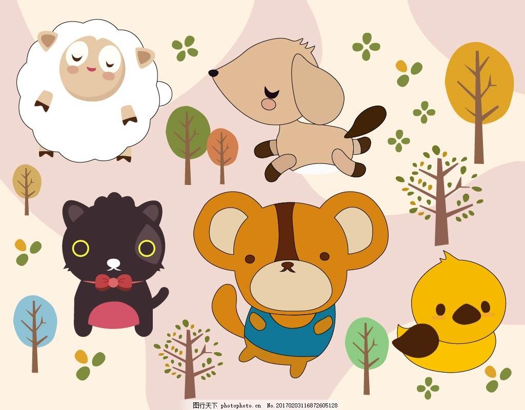 卡通动物形象 可爱卡通动物 韩国卡通 动物 卡通形象 小狗 儿童简笔画