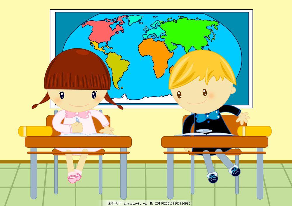 上课的小学生 上课的小学生图片素材 学校 卡通小朋友 上学 学习教育