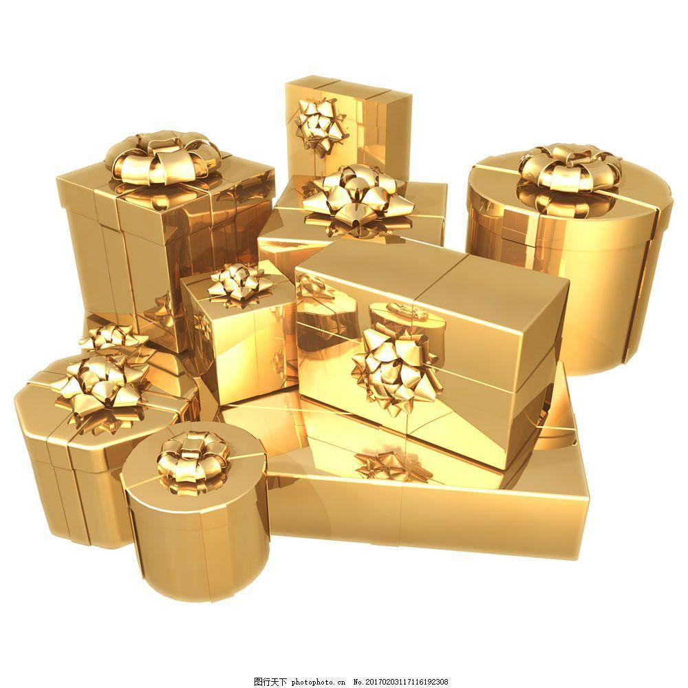 金色的方形和圆形礼物盒图片素材 金色 方形 圆形 礼物 礼物盒 其他类
