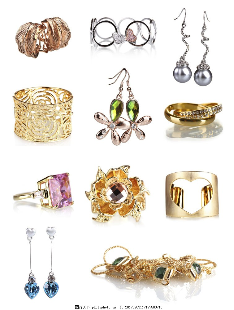 金银珠宝首饰 金银珠宝首饰图片素材 耳环 手镯 宝石戒指 黄金戒指