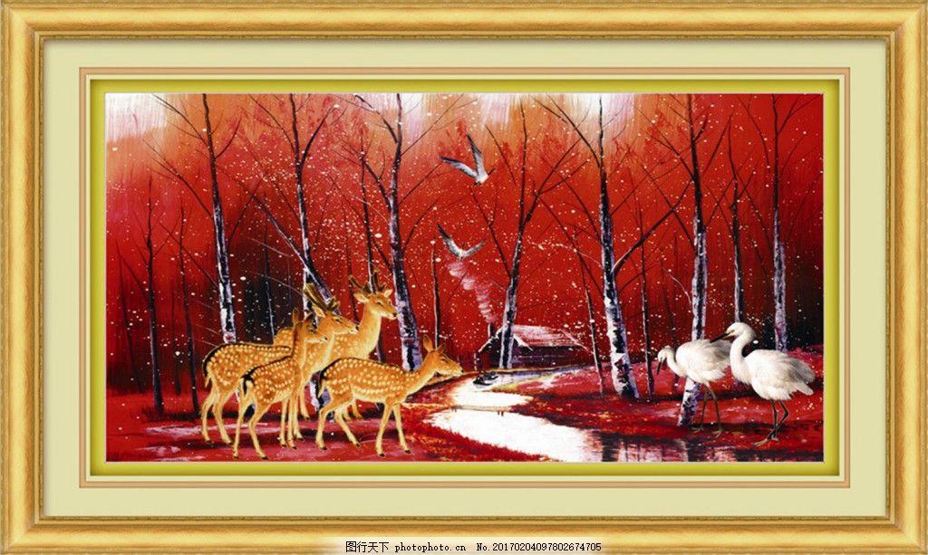 红叶丛林小鹿白鹤装饰画
