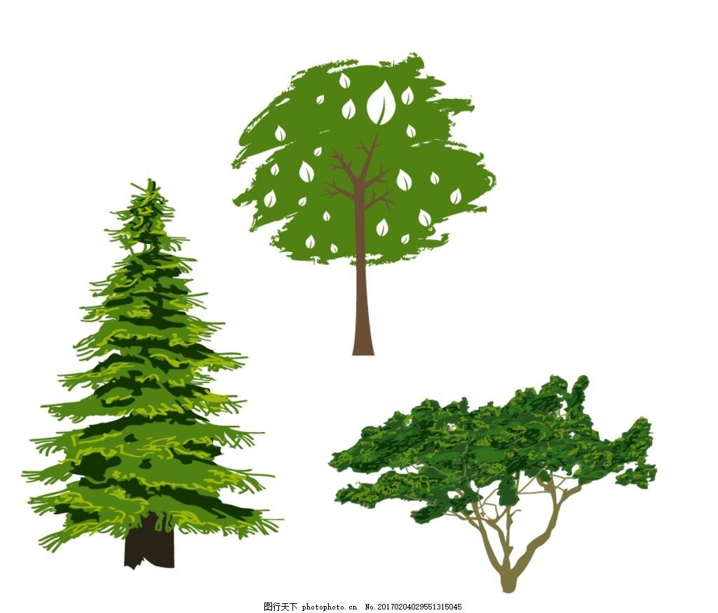 松树 桂花树 榕树 园林装饰素材 鸟瞰植物素材 鸟瞰树木 俯视植物素材