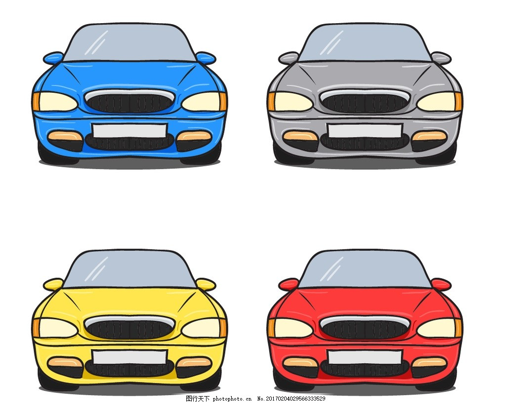 卡通车 轿车 卡通汽车素材 矢量素材 矢量图 手绘素材 扁平 彩色 炫酷