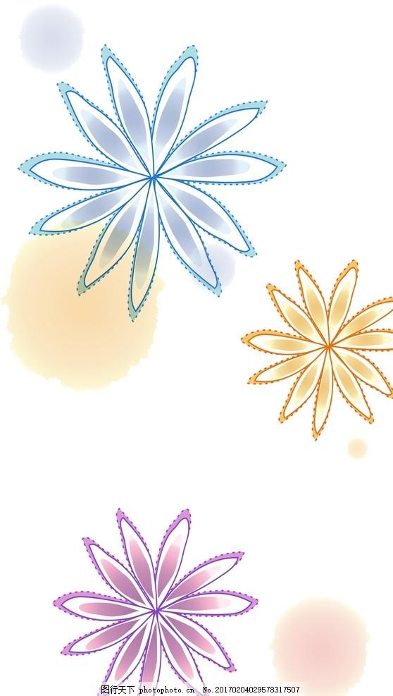线条花朵 可爱 手绘素材 卡通装饰素材 矢量图 抽象设计 时尚