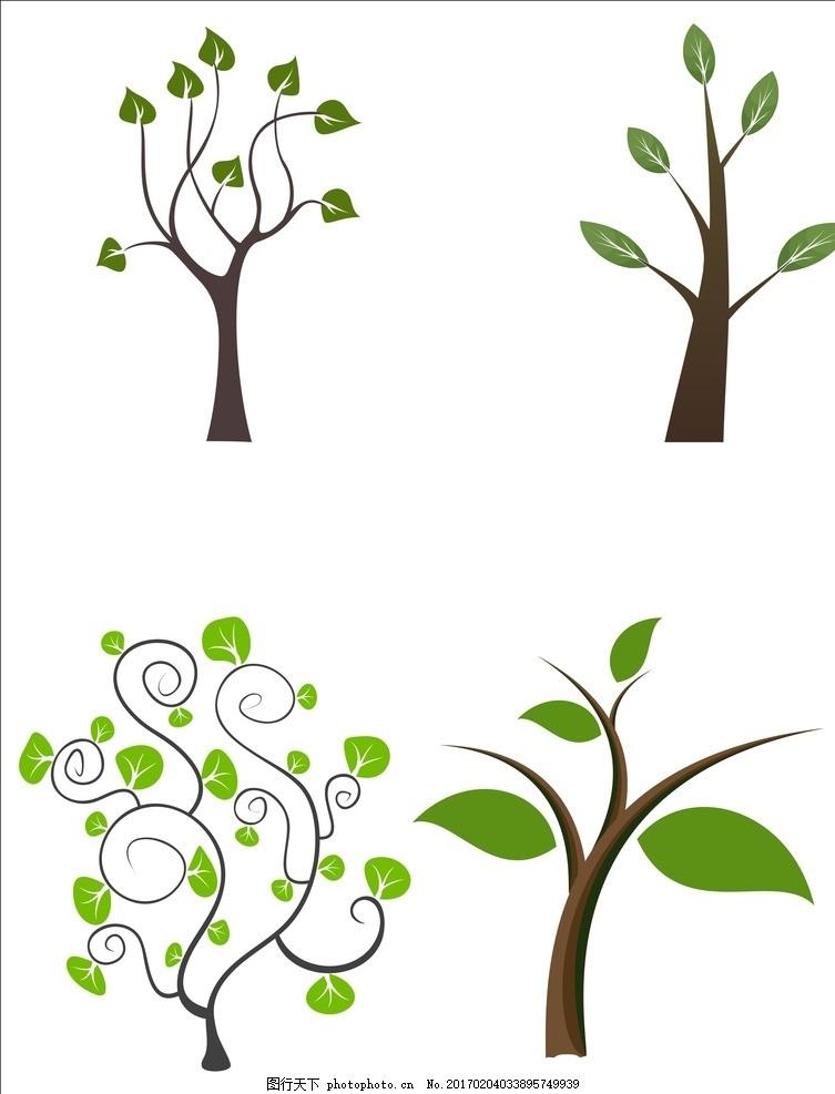 艺术小树 手绘 树 绿色 叶子 广告设计 cdr格式 设计 其他 图片素材