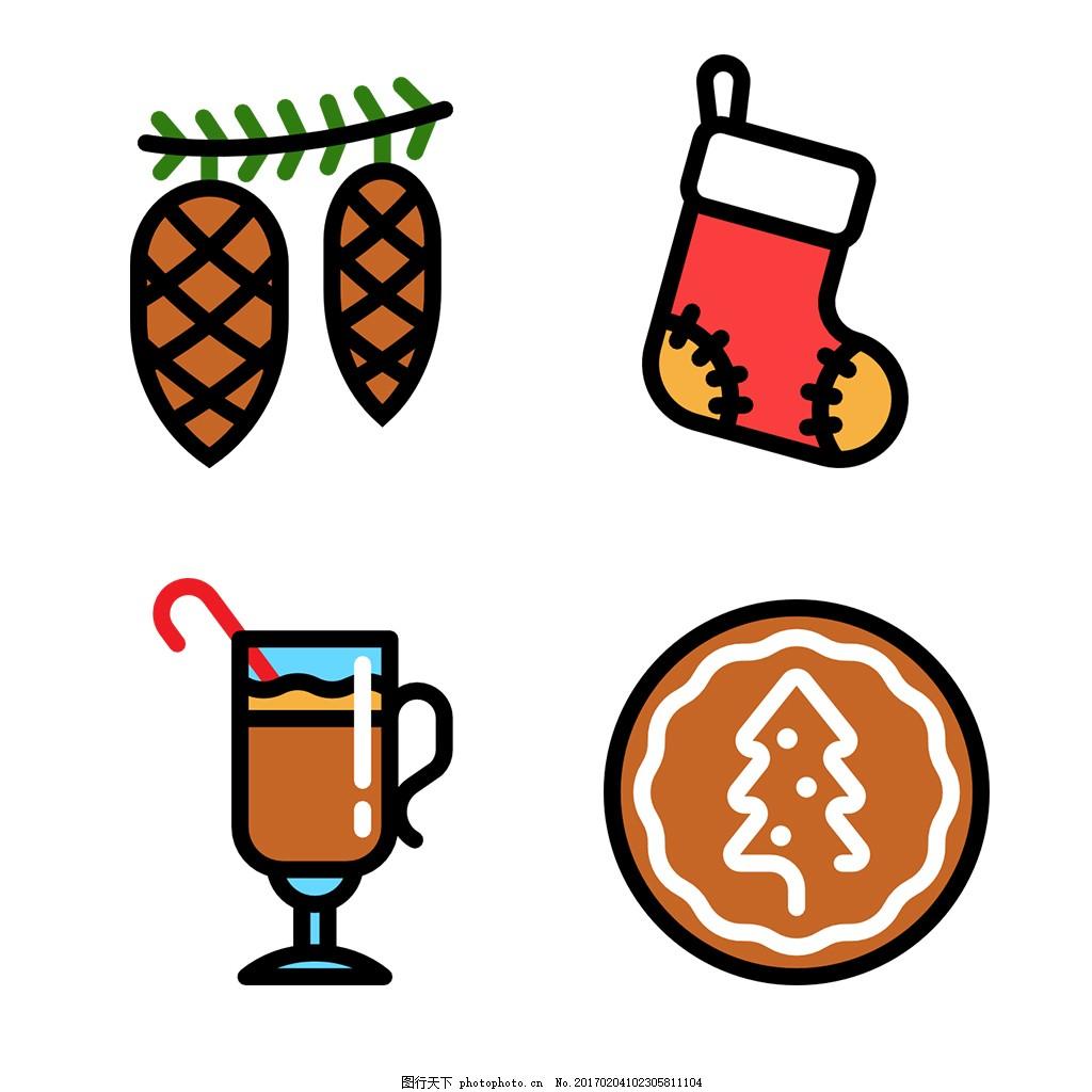 圆润可爱圣诞icon图标 扁平 手绘 单色 多色 简约 精美 可爱 商务