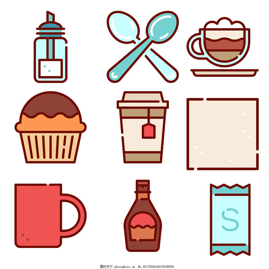 可爱美食饮料icon图标 填充 线性 扁平 手绘 单色 多色 简约 精美