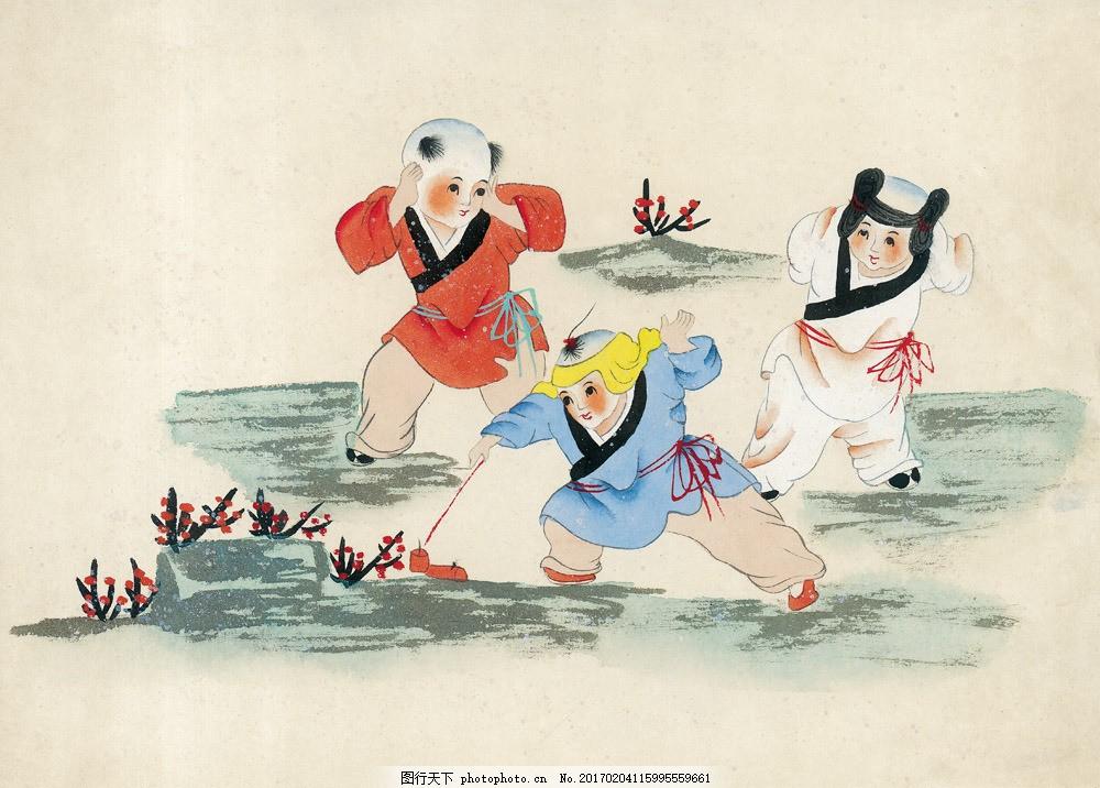 放鞭炮的儿童 放鞭炮的儿童图片素材 人物画 名画 中国画 水墨画