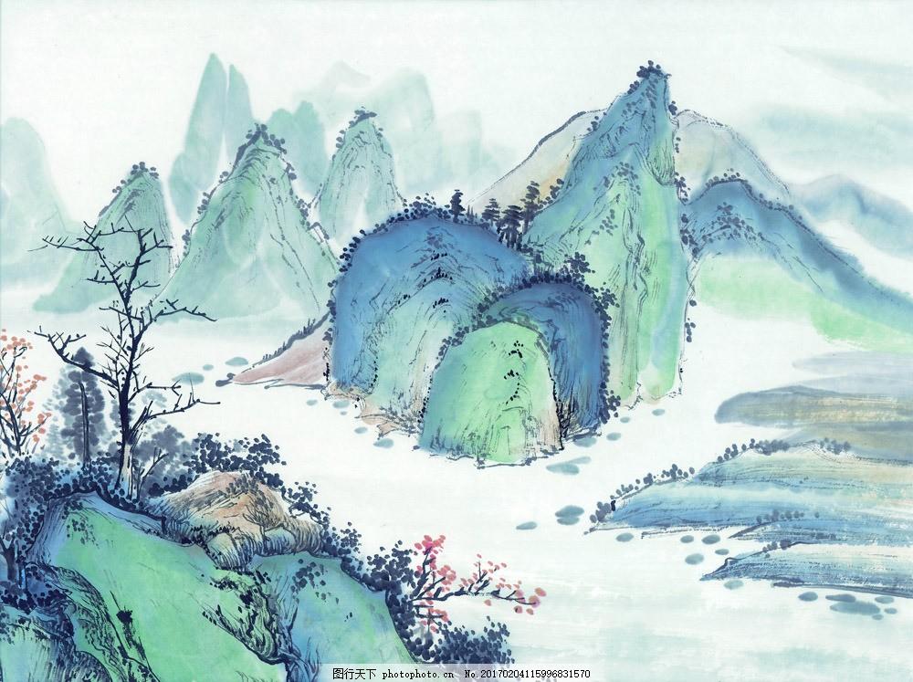 山峰风景水墨画图片