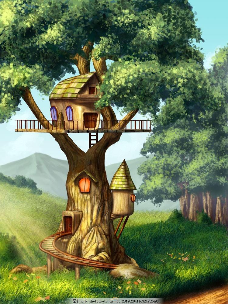卡通树木房子插画图片素材 卡通树木 卡通小房子 卡通风景 风景插画