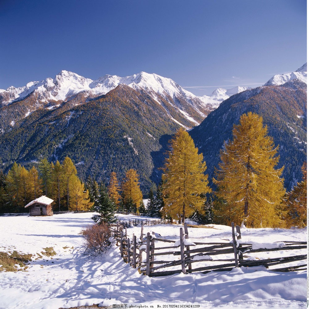雪地里的小屋自然风景 雪地里的小屋自然风景图片素材 风光 高清图片