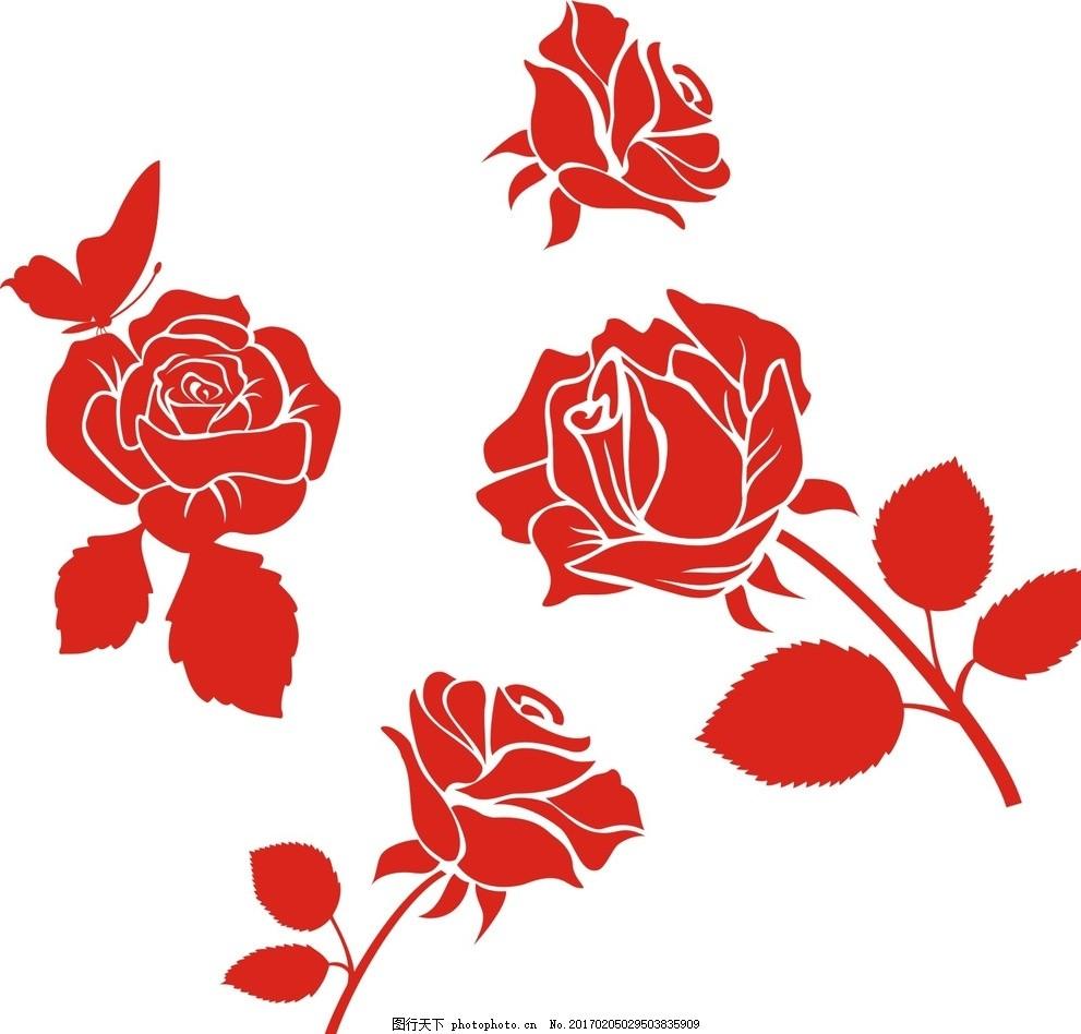 矢量玫瑰花,线条 玫瑰花卉 欧式古典 手绘玫瑰 复古
