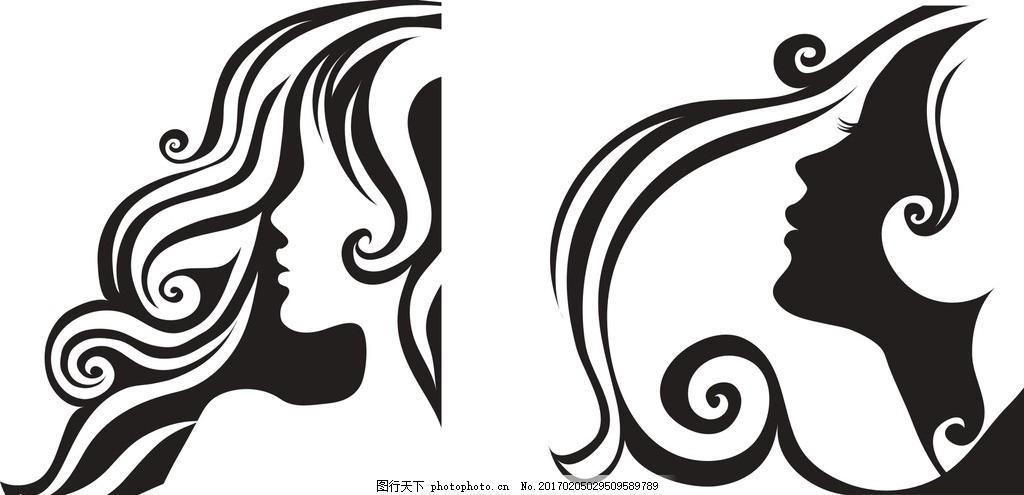 手绘 彩绘 时尚 美女头像矢量 女人头像设计 抽象画 插画 女性侧脸