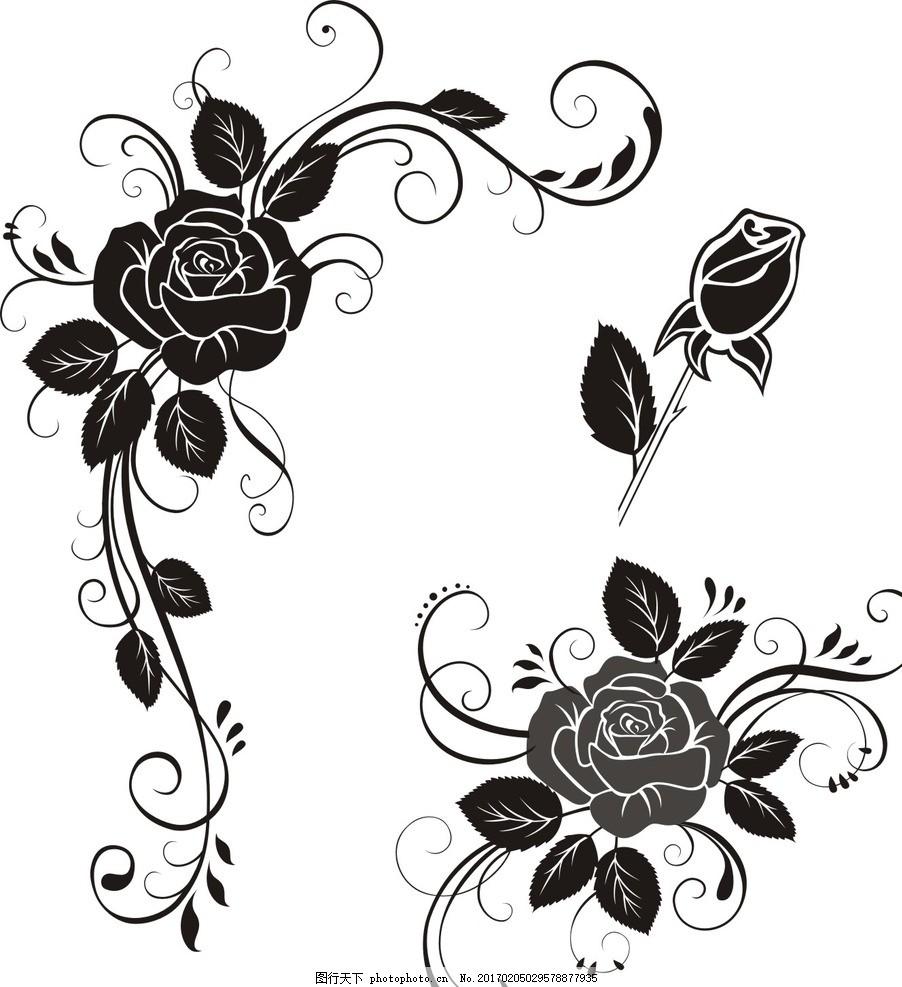 玫瑰花藤 古典 花边 怀旧 复古 欧式 装饰花纹 时尚 花纹花边 黑白