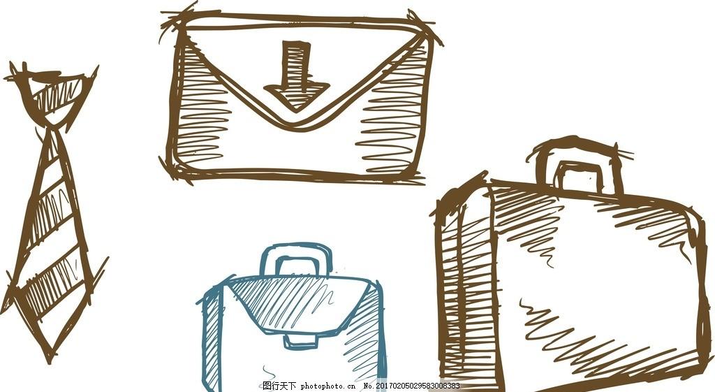 领带 公文包 行李箱 卡通素材 手绘 涂鸦素材 素描 线条 矢量素材
