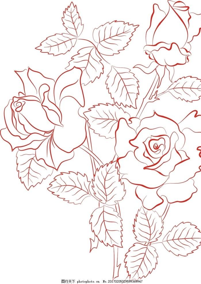 矢量玫瑰花 线条 玫瑰花卉 欧式古典 手绘玫瑰 复古花卉 复古风格