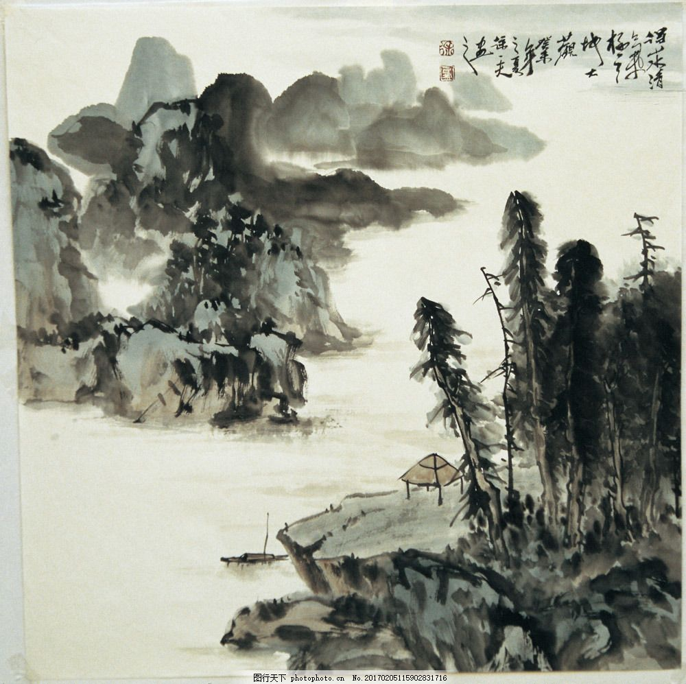 山水风景装饰画图片素材 水墨画 中国画 中国艺术 绘画艺术 国画 装饰
