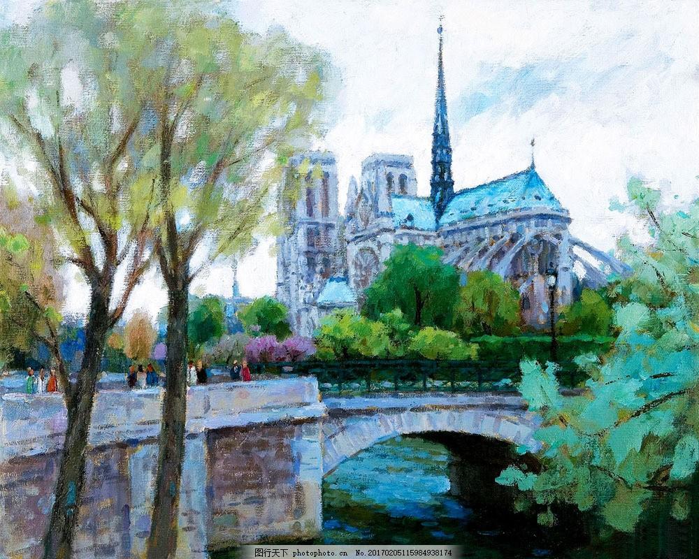 拱桥和欧式建筑油画图片