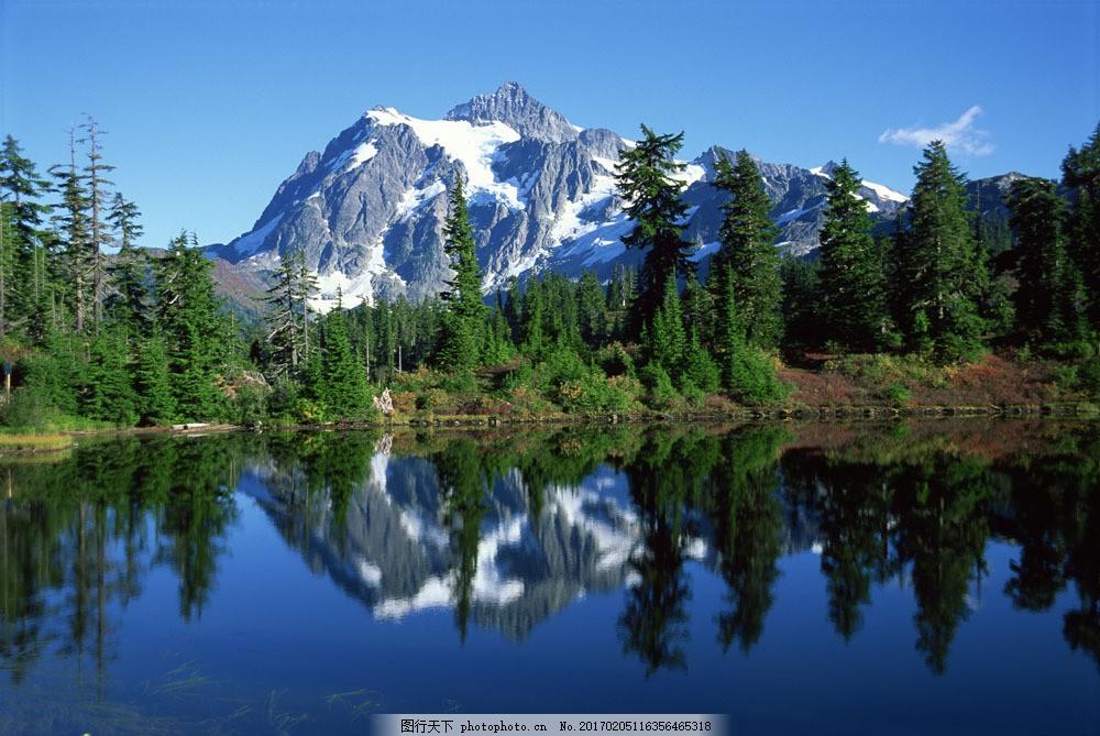 湖水 树林 雪山 山峰 倒影 自然风光 风景图片 摄影图片 山水风景