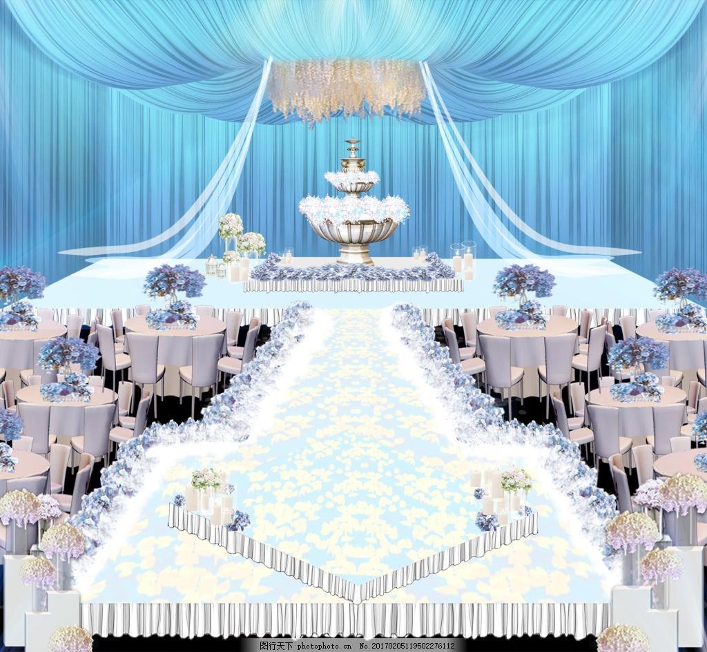 蓝色婚礼效果图 喷泉 纱幔 吊顶图片