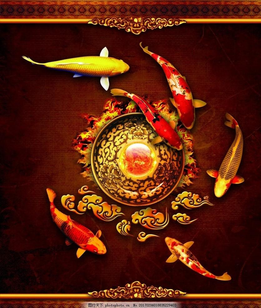 锦鲤 中国风 古韵 金色 鲤鱼