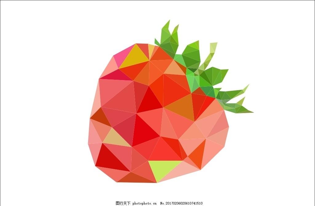 低多边形水果 水果简笔画 水果图案 多边形 水果图形 设计 底纹边框
