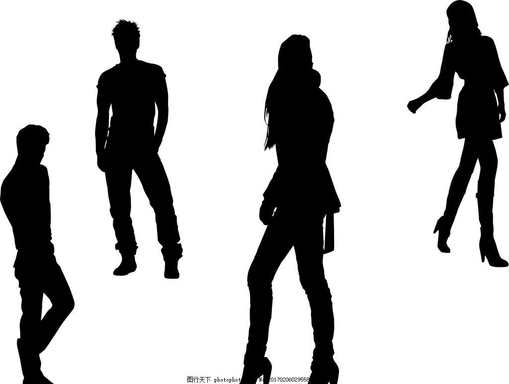 人物剪影 矢量素材 矢量人物剪影 黑白人物剪影 各种人物 单个人物