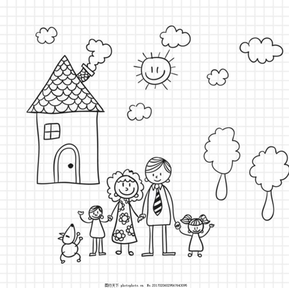 手绘儿童节快乐的一家人