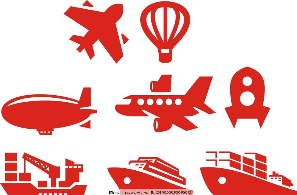 轮船 飞机 热气球 卡通素材 矢量素材 手绘 剪影 剪纸 飞机剪影
