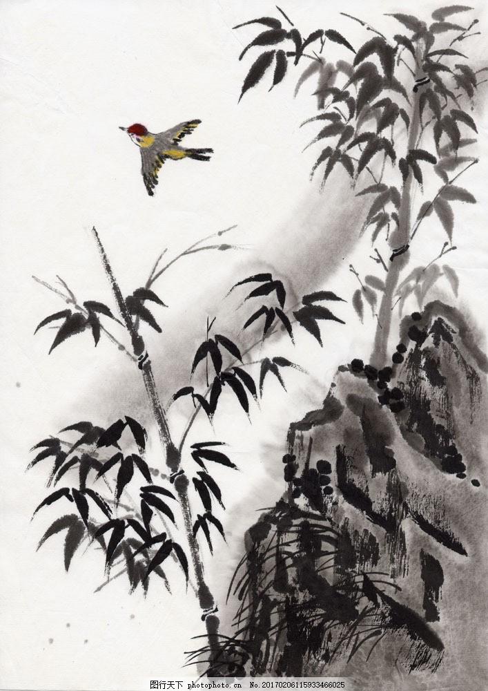 丹青 国画 水墨丹青      竖构图 图片素材 水墨画 水墨风景 竹 意境