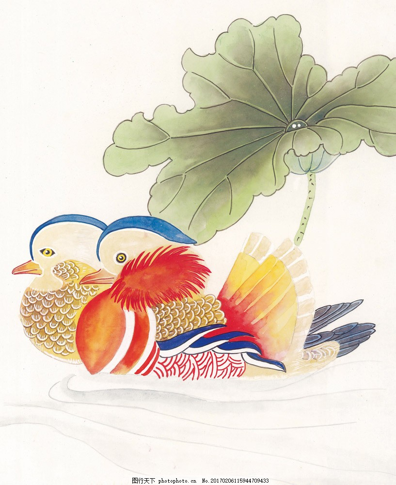 荷叶与鸳鸯图片素材 水墨画 中国画 中国艺术 绘画艺术 国画 装饰画