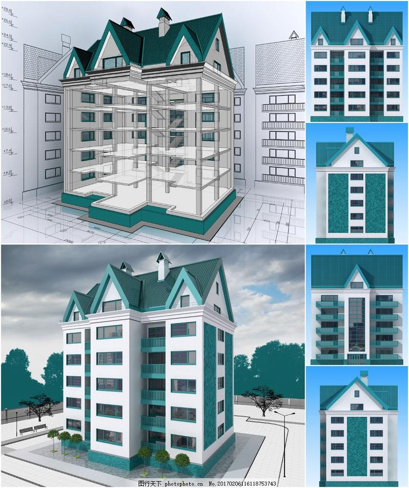 楼房建筑设计透视图图片