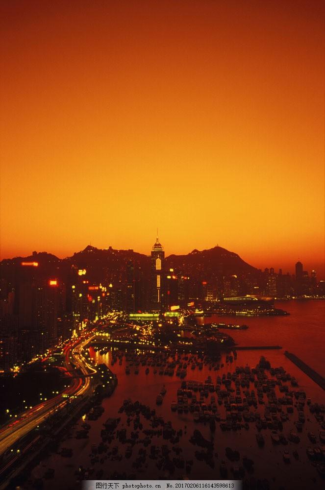香港 城市风光 高楼大厦 建筑 风景 繁华 霓虹灯 黄昏 晚霞 大海 海面