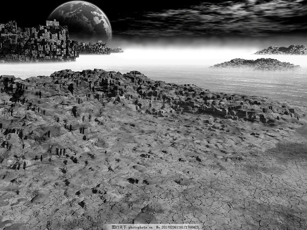灰色月球 灰色月球图片素材 球体 地球 绿色地球 星空 保护地球