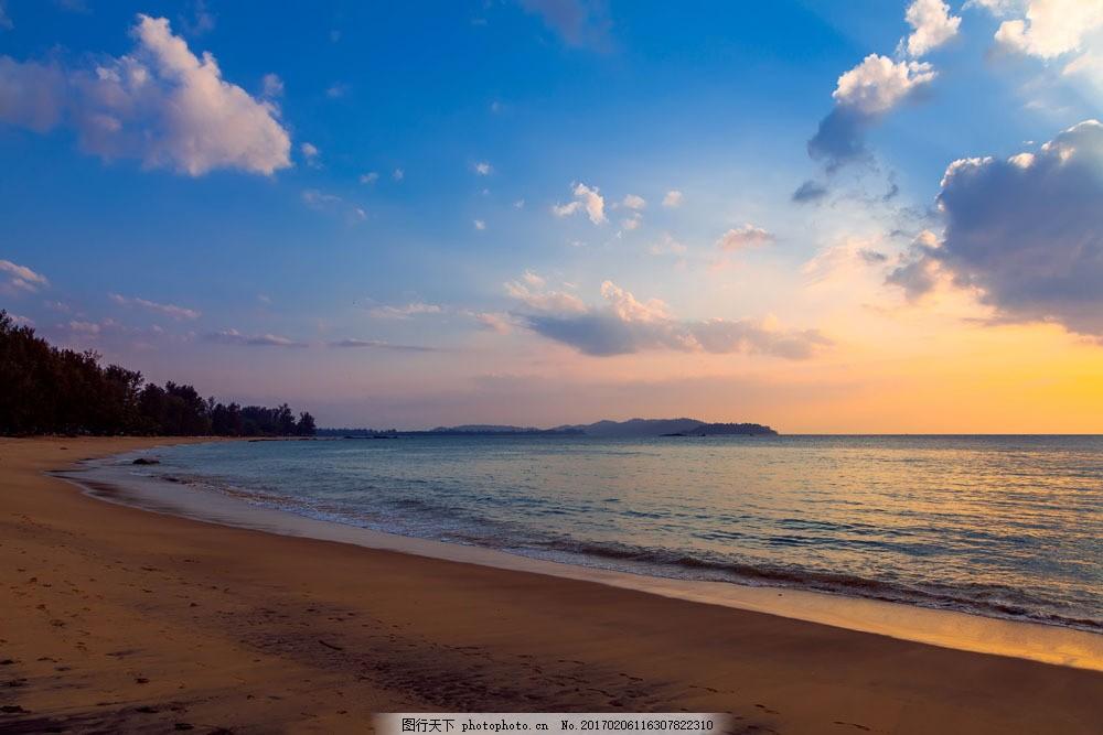 蓝天 白云 大海 夕阳 沙滩 树 海边景色 大海图片 风景图片 图片素材