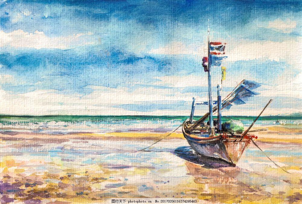 沙滩上的船只 沙滩上的船只图片素材 天空 海洋 水墨画 水彩画