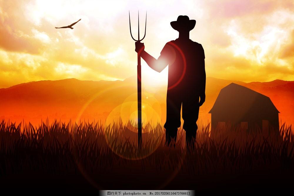 夕阳下的麦田与农民 夕阳下的麦田与农民图片素材 田间种植 外国男人