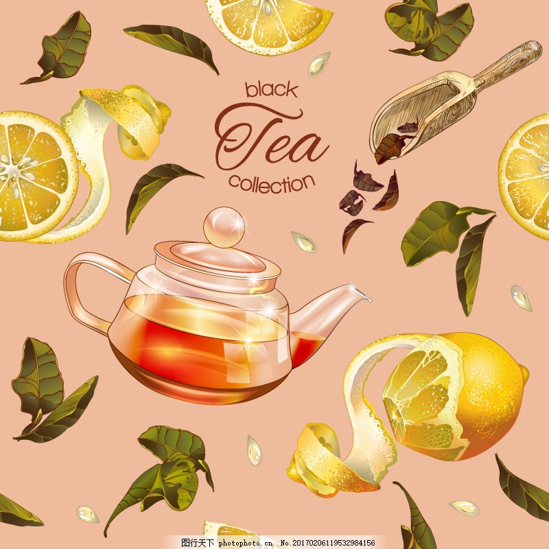 背景矢量素材 无缝背景 柠檬 茶壶 茶叶 红茶 设计 底纹边框 花边花纹