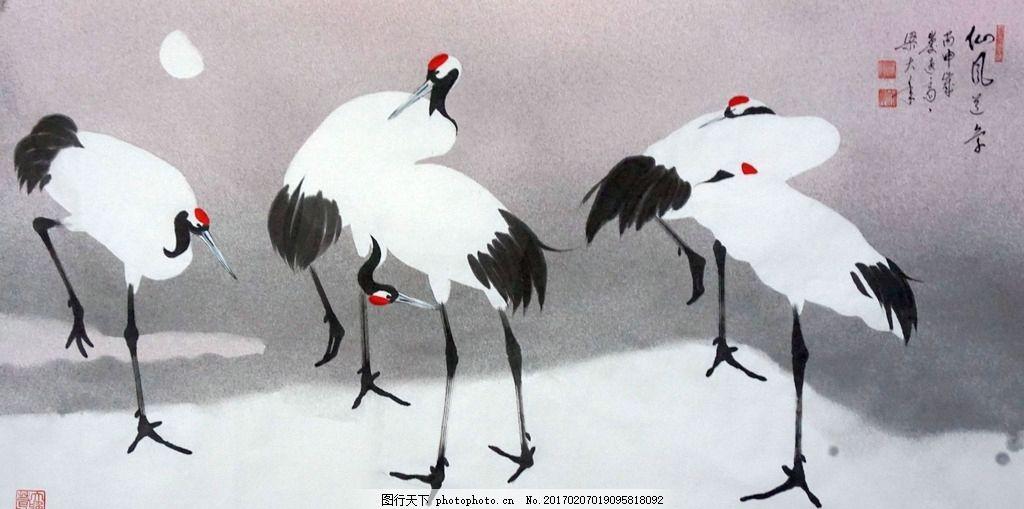 中国画 鹤 梁大年 画鹤名家 画鹤大家 画鹤大师 天下第一鹤 仙鹤国画图片