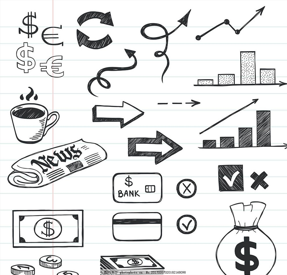 手绘小图标素材 对勾小图标 错叉 加号 各式箭头 矢量素材 钱包