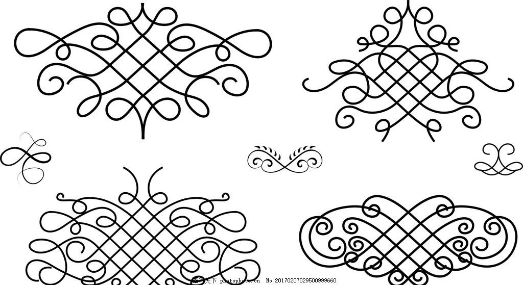 精美 分割线 古典 花纹 花边 古典花边 装饰花纹 时尚 花纹花边 黑白