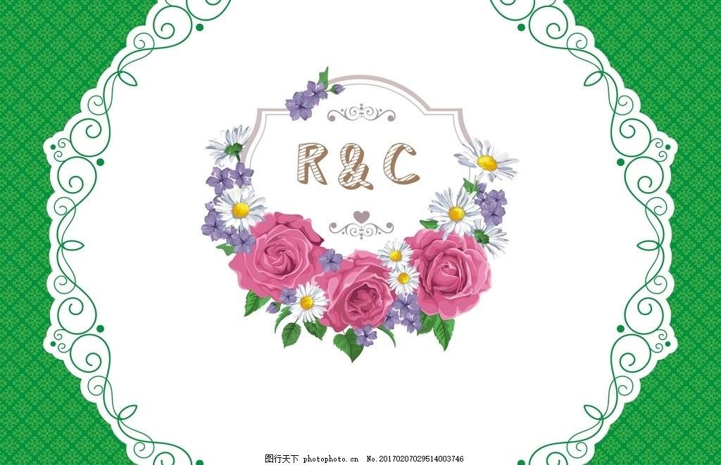 字母 英文 缩写 花朵 婚庆 设计 花环 暗纹 欧式花纹 小清新 森系