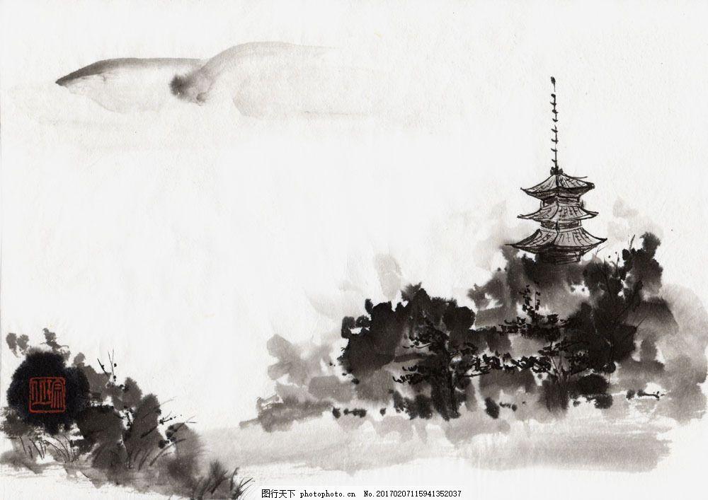 水墨风景-山塔图片图片