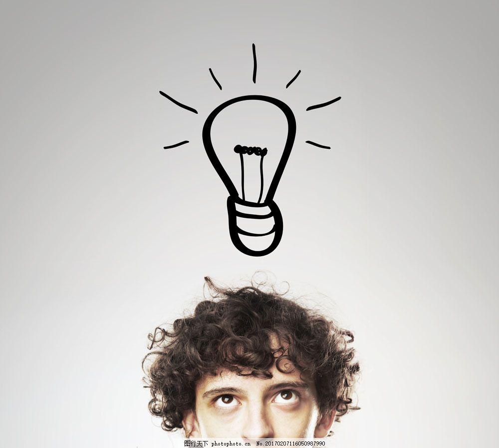男人头顶的灯泡 男人头顶的灯泡图片素材 职业人物 商务科技 现代商务