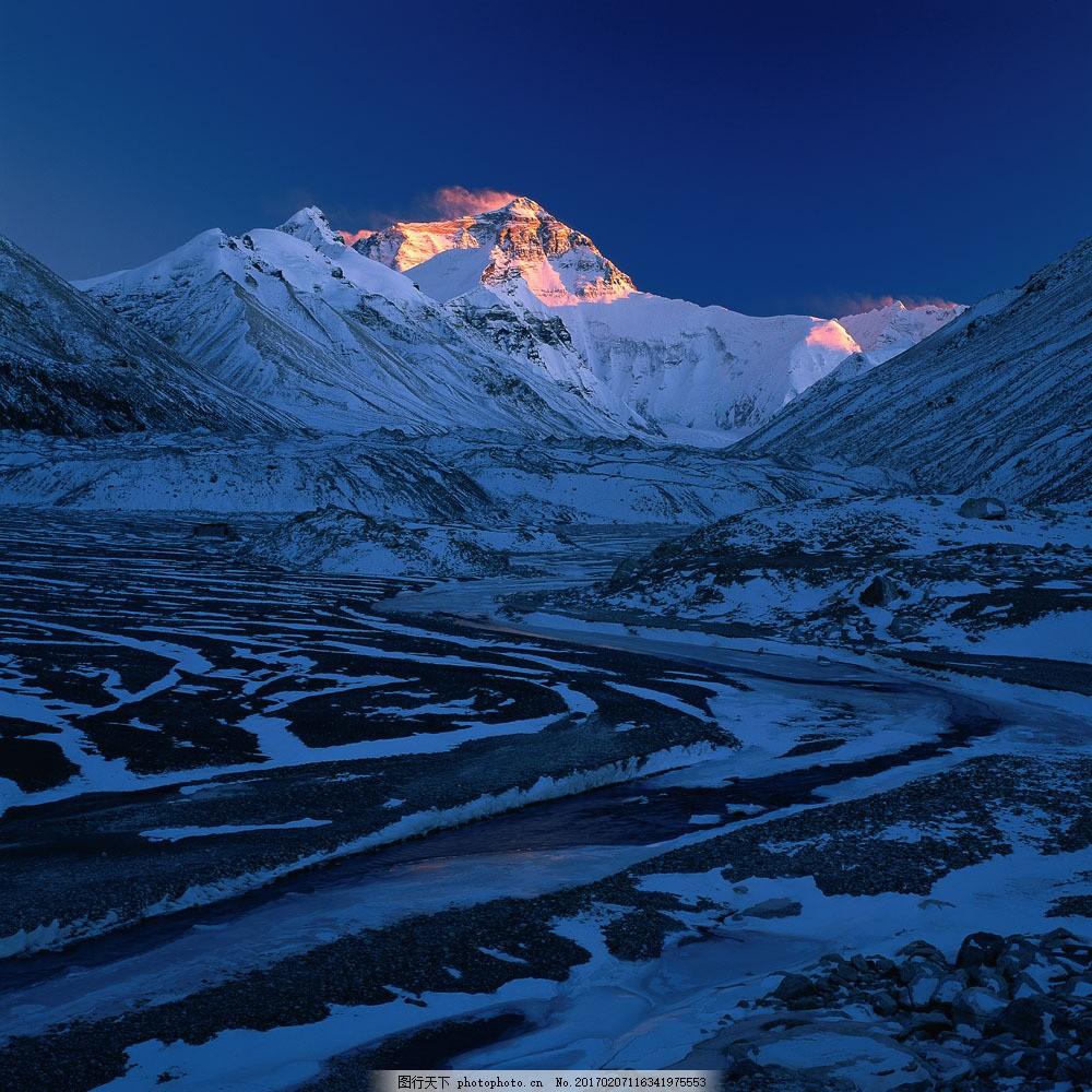 设计图库 高清素材 自然风景  凌晨雪山景观图片素材 高山 雪山 大雪