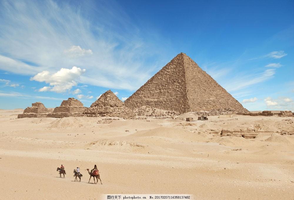 沙漠金字塔摄影 沙漠金字塔摄影图片素材 沙漠风景 骆驼 埃及旅游景点