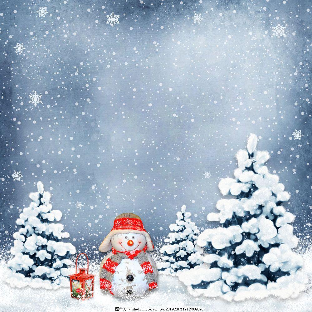 雪地上的圣诞树和雪人 雪地上的圣诞树和雪人图片素材 树木 灯 雪花