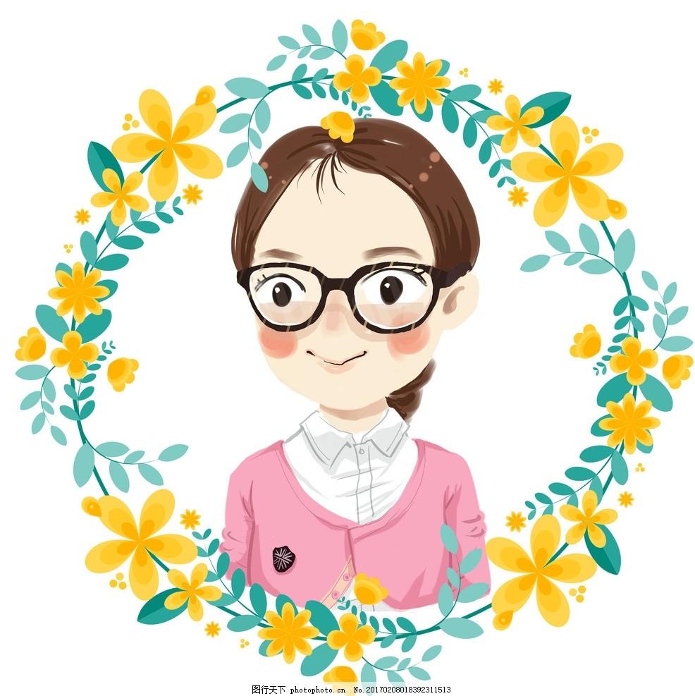 卡通头像 可爱 眼镜 女孩 萌 原创漫画卡通系列 动漫动画
