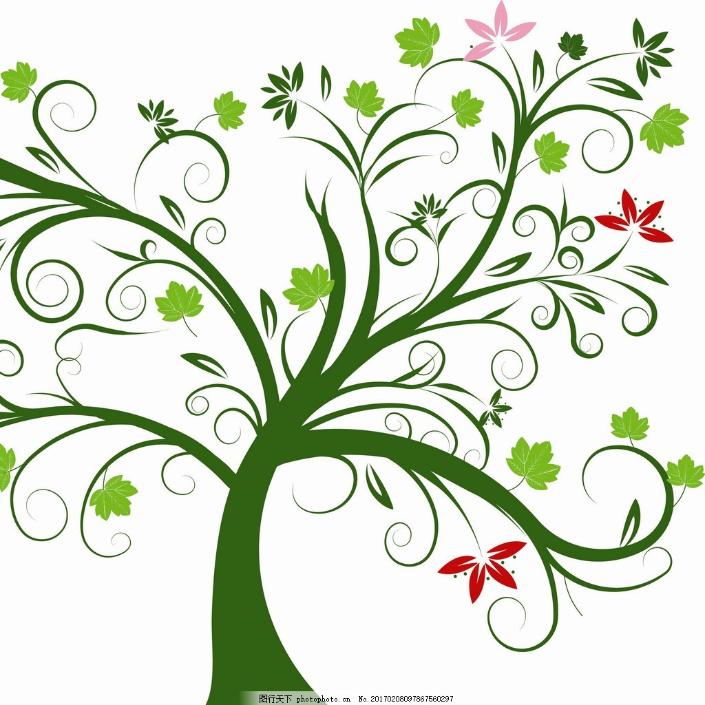 手绘绿色树花装饰画