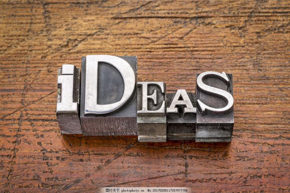 创意想法立体字 创意想法立体字图片素材 金属字 创新思维 木板背景